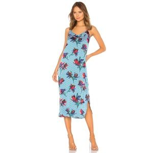 Equipment Dian Floral Print Silk Blue Slip Dress
